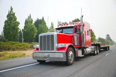 Semi empty trailer truck